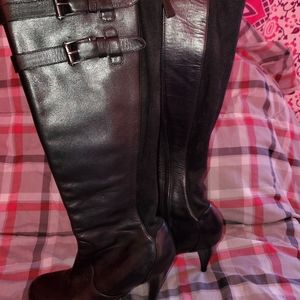 Cole Haan Nike Air black leather tall boots